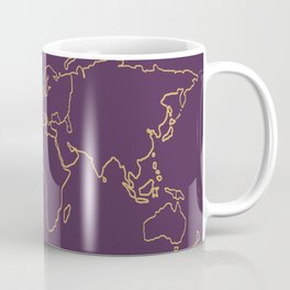 World map outline royal plum and gold Coffee Mug