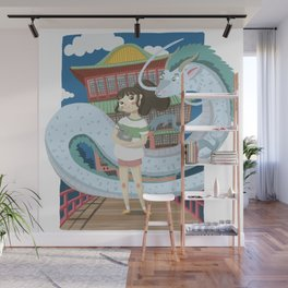 spirited Chihiro and Haku The Bath house Wall Mural