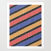 Line pattern (Complementary Colors) Art Print