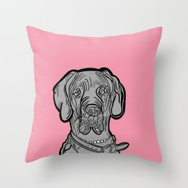 The Pinkest of the Great Dane Throw Pillow