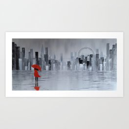 Lady in Red in Louboutine Shoes Walking Through London Art Print