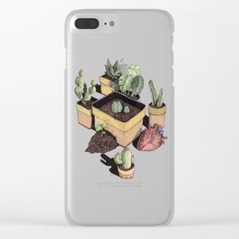 cactus, tropical leaves and heart Clear iPhone Case