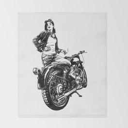 Woman Motorcycle Rider Throw Blanket