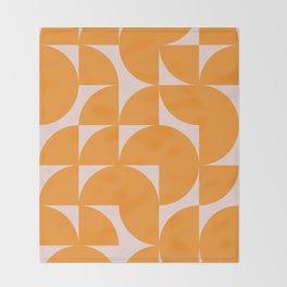 Modernist Shapes in Orange Throw Blanket