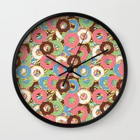 donuts Wall Clocks featuring Donuts by Beesants