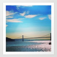 oakland Art Prints featuring Oakland Bridge by Laura Lee