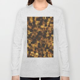 geometric square pattern abstract in brown and black Long Sleeve T-shirt