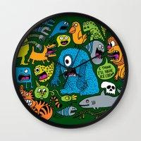 ice cream Wall Clocks featuring Ice Cream by Chris Piascik