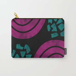 Fuchsia and Turquoise Abstract Shapes Carry-All Pouch