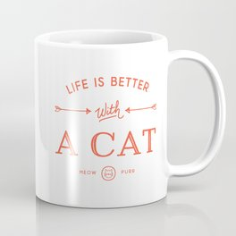 Life Is Better With A Cat - Cherry Red Coffee Mug