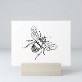 Contour drawing of a bee Mini Art Print