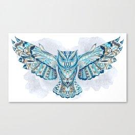 Blue Ethnic Owl Canvas Print