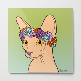 Flower Crown Sphynx Metal Print