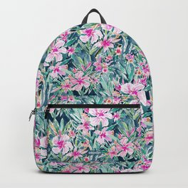 LUSH OLEANDER Tropical Watercolor Floral Backpack