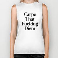 pencil Biker Tanks featuring Carpe by WRDBNR