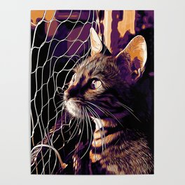 bengal cat yearns for freedom vector art late sunset Poster