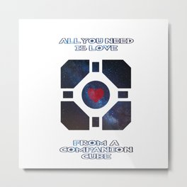 Portal - Companion cube love Metal Print