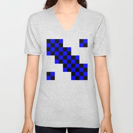 Black and blue squares Unisex V-Neck