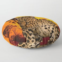 Leopard and Sunset Floor Pillow