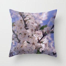 Sour Cherry Tree Blue Sky Throw Pillow