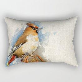 Watercolor Bird - Bohemian waxwing(Bombycilla garrulus) Rectangular Pillow