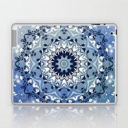 MAGICAL BLUE AND WHITE FLORAL MANDALA Laptop & iPad Skin