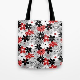 Funky Flowers in Red, Gray, Black and White Tote Bag