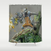 guardians of the galaxy Shower Curtains featuring Guardians by theMAINsketch