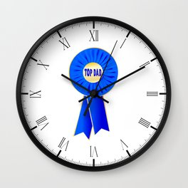 Top Dad Rosette Wall Clock