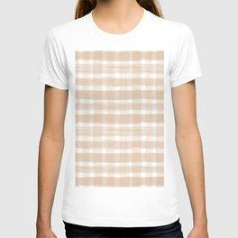 Ligonier Tan SW 7717 Watercolor Brushstroke Plaid Pattern on White T-shirt