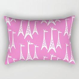 Mid Century Modern Giraffe Pattern 221 Pink Rectangular Pillow