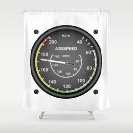 Airspeed Flight Instruments Shower Curtain