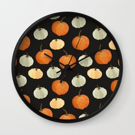Orange yellow gray black watercolor pumpkin pattern Wall Clock