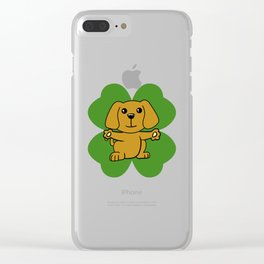 Dog On Four Leaf Clover- St. Patricks Day Funny Clear iPhone Case