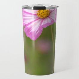 Pink and White Cosmos Travel Mug