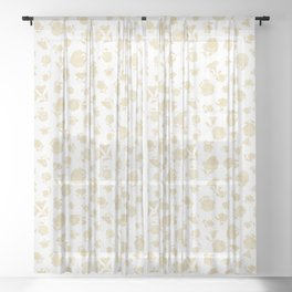 Cream Shadow Bloom Sheer Curtain