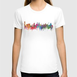 Liverpool seafront city line skyline waterfront watercolour colours colour splash by Evangelos T-shirt