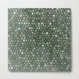 Dark Green Faux Mosaic Metal Print