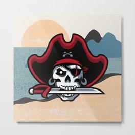 Sword in Pirate Mouth Metal Print