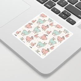 Pastel colors cartoon alpaca llama family Sticker