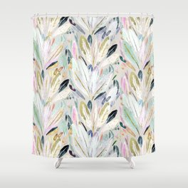 Pastel Shimmer Feather Leaves on Gray Shower Curtain