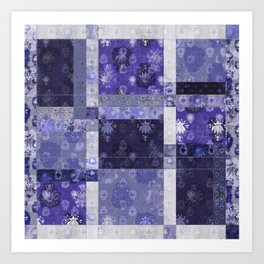 Lotus flower blue stitched patchwork - woodblock print style pattern Art Print