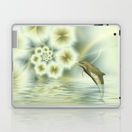 Happy Dolphin in a surreal World Laptop & iPad Skin