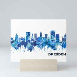 Dresden Germany Skyline Blue Mini Art Print