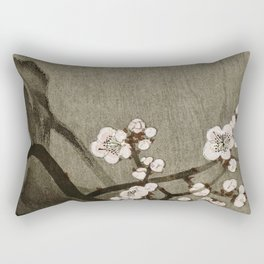 Blossoming plum tree at full moon  - Vintage Japanese Woodblock Print Art Rectangular Pillow