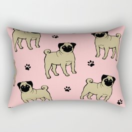 Funny pug dog on the pink background Rectangular Pillow