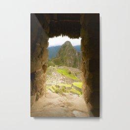 Machu Picchu window view Metal Print