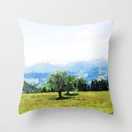 Fantastic Landscape, Austria 09,watercolor painting Throw Pillow