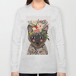 Siamese Cat with Flowers Long Sleeve T-shirt