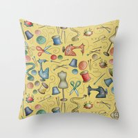sewing Throw Pillows featuring Sewing tools by Catru